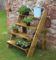 Grange Wooden Step Planter - great way to display plants and garden art