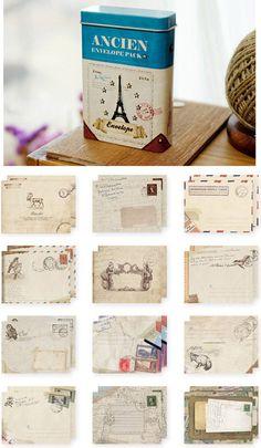 #papercraft #envelopes A letter writer's treat!> Ancien mini Envelopes in Tin Case 24 envelopes by WonderlandRoom