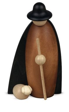 Björn Köhler Schäfer mit Schaf im Mantel 12cm, Krippe klein Art.Nr.171 NEU/OVP