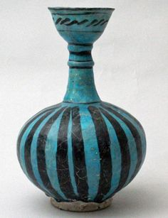 Bottle, Central Iran (probably Kashan), 13th century. Fritware molded and painted in black under a transparent turquoise glaze, 9 7/8 x 6 1/8 in. Gift of Arthur I. Appleton, AL285.