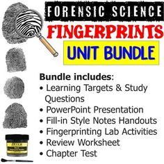 This bundle includes all products from my Forensic Science Fiber Evidence Unit. This bundle includes:• Learning Targets and Study Questions• PowerPoint Presentation• Fill-in Style Notes Handouts• Fingerprinting Lab Activities• Review Worksheet• Practice Test• Chapter Test*Vocabulary Assignment is so... Science Vocabulary, Science Resources, Activities, Types Of Fingerprints, Learning Targets, Forensic Science, Forensics, Worksheets, Lab