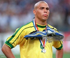 World Cup Final, St, Denis, France, 12th July, 1998, France 3 v Brazil 0, Brazil's Ronaldo stands dejected at the end with silver boots and silver medal