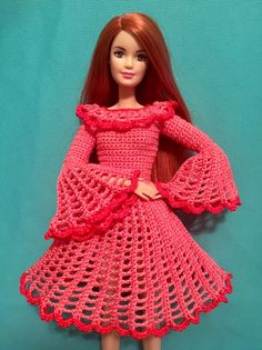 Irresistible Crochet a Doll Ideas. Radiant Crochet a Doll Ideas. Crochet Doll Dress, Crochet Barbie Clothes, Doll Clothes Barbie, Barbie Dress, Barbie Knitting Patterns, Barbie Clothes Patterns, Fashion Dolls, Fashion Dresses, Barbie Fashionista