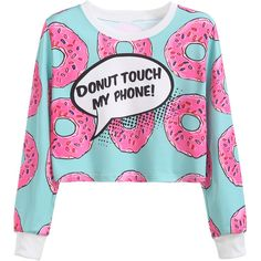 Contrast Trim Donuts Print Crop Sweatshirt (390 ARS) ❤ liked on Polyvore featuring tops, hoodies, sweatshirts, shirts, sweaters, crop top, long sleeve sweatshirts, blue crop top, extra long sleeve shirts and long sleeve pullover