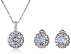 Sterling Silver Aquamarine with Created White Sapphire Frame Earrings and Pendant Necklace Jewelry Set -- Be sure to check out this awesome product.(This is an Amazon affiliate link)
