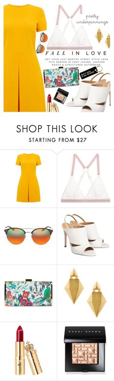 """Untitled #2383"" by anarita11 ❤ liked on Polyvore featuring Warehouse, Mimi Holliday by Damaris, Ray-Ban, Jessica McClintock, Stephanie Kantis, Bobbi Brown Cosmetics and Various Projects"
