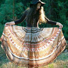 c2b0b1c774b7 Indian Cotton Skirt Gypsy Skirt DARJEELING by AstralBoutique Boho Gypsy