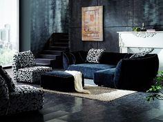 """Effet """"cocoon"""" garanti avec ce charmant canapé en velours. Ce canapé d'angle noir assorti d'un pouf et d'un fauteuil déco a tout pour agrémenter votre décoration d'intérieur. Ce salon en tissu s'intègrera aisément à tous types d'intérieur. #canapetissu #design"""