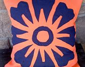 Navy Flower on Coral Fabric Pillowcase