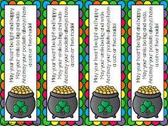 (FREE) Everybody loves free bookmarks! Here are some cute bookmarks to share with your students on St. Patrick's Day. Enjoy! #kellysclassroom