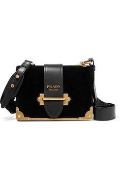 00166a96eaf Black velvet and leather Prada Handbags, Prada Purses, Purses And Handbags,  Large Handbags