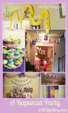 Rapunzel Party - cute Rapunzel yarn hair and flags