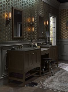 Poplin® mirror     Ceramic/Impressions® sink     Dual vanities joined by a counter create a convenient place for applying makeup or doing your nails. Reflective velvet skulls glimmer against a backdrop of shifting iridescent color.