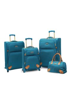 Nicole Miller 4-Piece Paris Expandable Spinner Set in Turquoise - Beyond the Rack