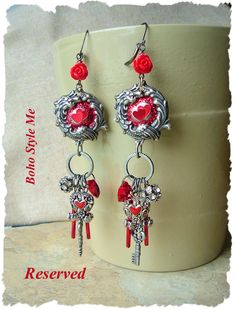Valentine Assemblage Earrings, Vintage Statement Jewelry, Antique Silver and Red Heart Earrings, BohoStyleMe, Kaye Kraus by BohoStyleMe on Etsy