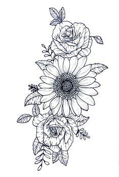 Sunflower Tattoo Sleeve, Sunflower Tattoo Shoulder, Sunflower Tattoos, Sunflower Tattoo Design, Flower Tattoos On Shoulder, Flower Hip Tattoos, Rose Rib Tattoos, Sunflower Drawing, Tattoos With Flowers