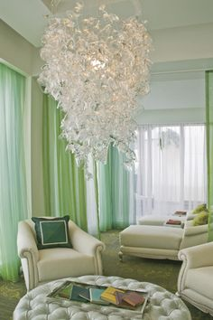 300 glasses chandelier, spa lounge, ritz carlton, palm beach.