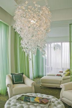 300 glasses chandelier, spa lounge, ritz carlton, palm beach.