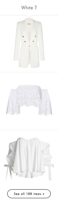 """""""White 🐼"""" by yendry-mariela-garcia-perez ❤ liked on Polyvore featuring outerwear, jackets, blazers, white, tuxedo jacket, white tuxedo blazer, white jacket, dinner jacket, white blazer and tops"""