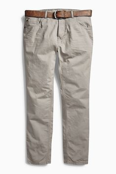 Jeans mit Gürtel und geradem Bein  100% Baumwolle. Gürtel: 100% Polyurethan.  Straight-Fit mit geknöpftem Hosenschlit. Klassisches 5-Pocket-Design. Inklusive Gürtel in Leder-Optik...