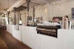 white tiled espresso bar