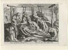 Philips Galle | Balseming van Christus, Philips Galle, 1585 | Nadat Christus van het kruis is afgehaald, wordt hij op de grond gelegd en in wit linnen gewikkeld. Johannes verwijdert de doornkroon van het lichaam, terwijl de drie Maria's hem bewenen. Maria Magdalena balsemt zijn voeten. De prent heeft een Latijns onderschrift en maakt deel uit van een serie over de passie, dood en wederopstanding van Christus.
