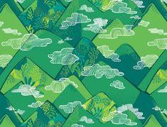 Bwindi Forest Clouds Green - Blend Fabrics