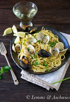 Pasta with Clams and Mussels | Lemons & Anchovies blog #pasta #clams #mussels