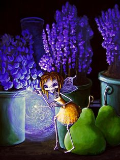 ☆ Skeleton Giclee - Tiny Fairy At Night in the Potting Shed - Calavera Day of the Dead :: By Sherri Bones Nelson ☆