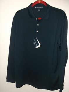 CHASE EDWARD Golf Polo Performance Shirt Stay Dry Blue Size Medium Long  Sleeves a8939ceff