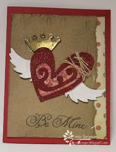 Suzi's Scraps: Tim Holtz Heart with wings card Valentine Love Cards, Valentines Day Date, Wings Card, Heart Wings, Unique Cards, Heart Cards, Love Bugs, Tim Holtz, Art Therapy