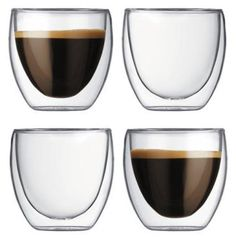 Bodum Pavina double walled glass espresso/shot glasses. Perfect for hot or cold servings of soup, ice cream, coffee, cocktails, etc.
