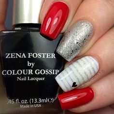 We <3 this! Red, silver, and black make a perfect combination; make every nail different for an on trend mani for prom.