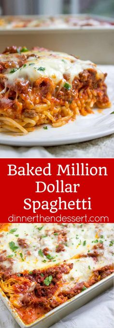 Baked Million Dollar Spaghetti is creamy with a melty cheese center, topped with. , Baked Million Dollar Spaghetti is creamy with a melty cheese center, topped with meat sauce and extra bubbly cheese. Tastes like a cross between baked. Spaghetti Dinner, Spaghetti Squash, Spaghetti Lasagna, Spaghetti Bake, Baked Spaghetti Recipes, Squash Pasta, Spagetti Pie Recipe, Crockpot Baked Spaghetti, Baked Spaghetti With Ricotta