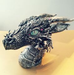 Silver Black Dragon Bust by MakoslaCreations on Etsy, $300.00