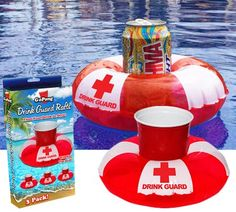 Drink Guard Drink Rafts from: Perpetual Kid Birthday Gag Gifts, Party Gifts, Floating Drink Holder, Crazy Day, Pool Accessories, Funny Greeting Cards, Kids Cards, Rafting, Some Fun
