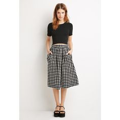 Love 21 Polka Dot A-Line Skirt ($18) ❤ liked on Polyvore featuring skirts, ruched skirt, a line midi skirt, cotton skirt, print midi skirt y white a line skirt