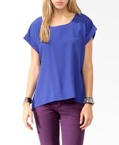 Cuffed High-Low Top | FOREVER21 - 2008585618 (Royal)