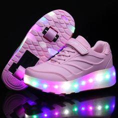 Lunares Zapatos LED Con Ruedas Rosa