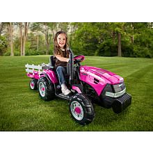 Peg Perego Case IH Magnum Tractor with Trailer 12V Ride On - Pink....OMG how cute a pink tractor alittle too expensive but adorable!!!