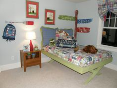 Design Dazzle: Happy Camper Room...I love this idea for a little boy room.