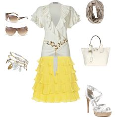 cool yellow/white summer outfit. Adorable skirt