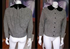 Vintage 1940s Black and White Wool Jacket Blazer Gorgeous Velvet Collar Nipped Waist by WestCoastVintageRSL, $58.00