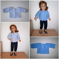 Chandail ajouré pour poupée, patron de tricot en français.  Lacey knitted sweater knitting pattern for dolls (in French)