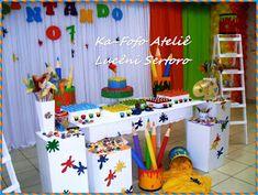 REALMENTE PINTAMOS MESMO O SETE NESSA FESTA!! E O DOZE TAMBÉM rsrsrs... PRA COMEMORARMOS O ANIVERSÁRIO DO PEDRO E DO JOÃO VITOR... MEUS SO... Boy Birthday Parties, Baby Birthday, Birthday Cake, Art Party Decorations, Paint Party, Holiday Decor, Crafts, Painting, Party Ideas