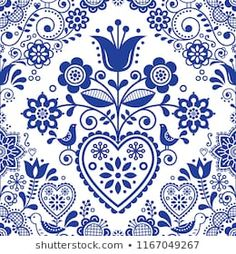 Popular Folk Embroidery Seamless folk art vector pattern with birds and flowers, Scandinavian or Nordic navy blue repetitive floral design. Retro style navy blue ornament, Scandi endless background perfect for textile design - Vector Pattern, Pattern Art, Free Pattern, Scandinavian Folk Art, Scandinavian Embroidery, Scandinavian Pattern, Mexican Graphic Design, Bordado Popular, Vector Art