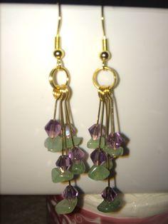 Gems stone, Swarovski Crystal, Copper earrings
