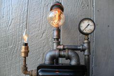"Steampunk Lamps: ""Allen-Bradley"" vintage box, gauge, Edison bulbs, & pipe."