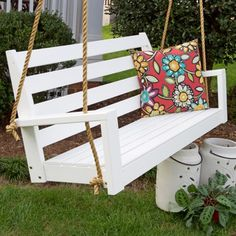 Porchgate Amish Made Tisbury White Patio Swing With Ropes