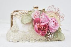 Vintage Wedding ivory Dupioni silk clutch by Petite Vintage Handbags